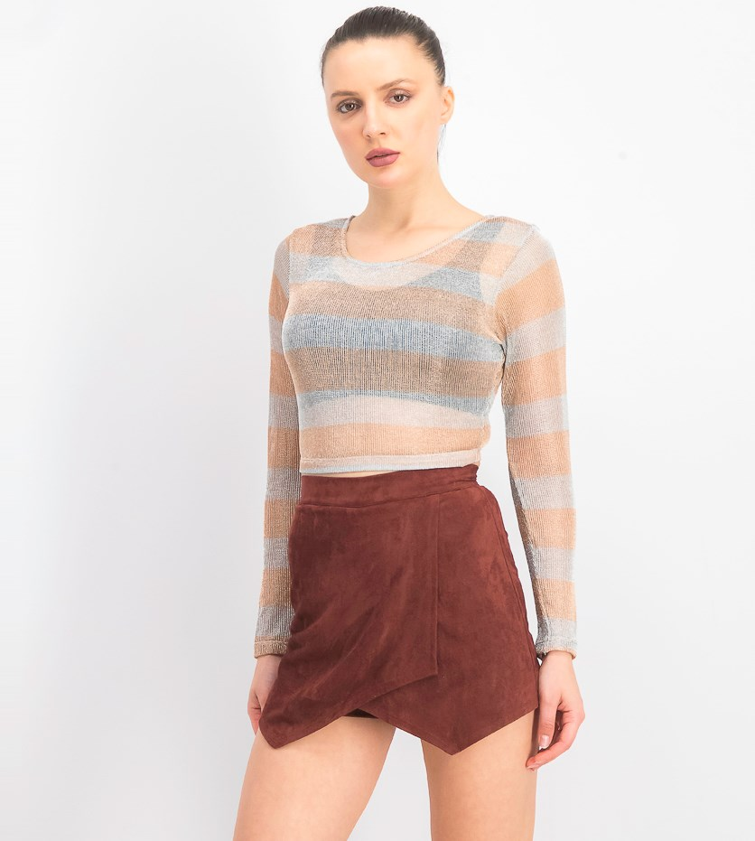 Women's Metallic Open Knit Crop Top, Rose Gold/Silver