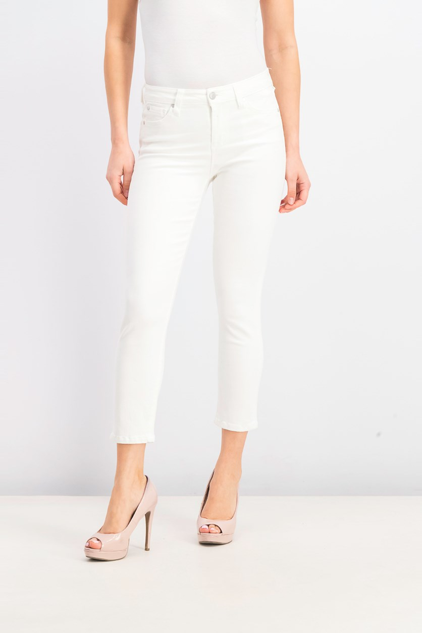 Juniors' Cropped Skinny Jeans, White