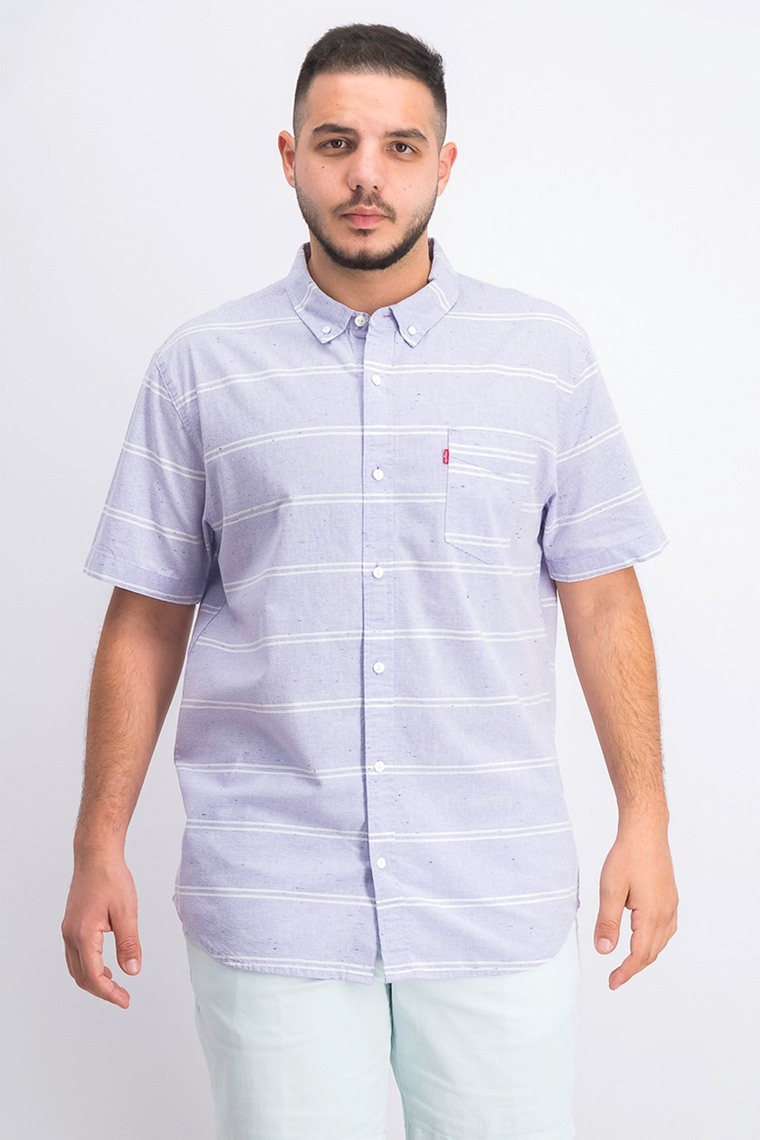 Men's Striped Nep Shirt, Aster Purple
