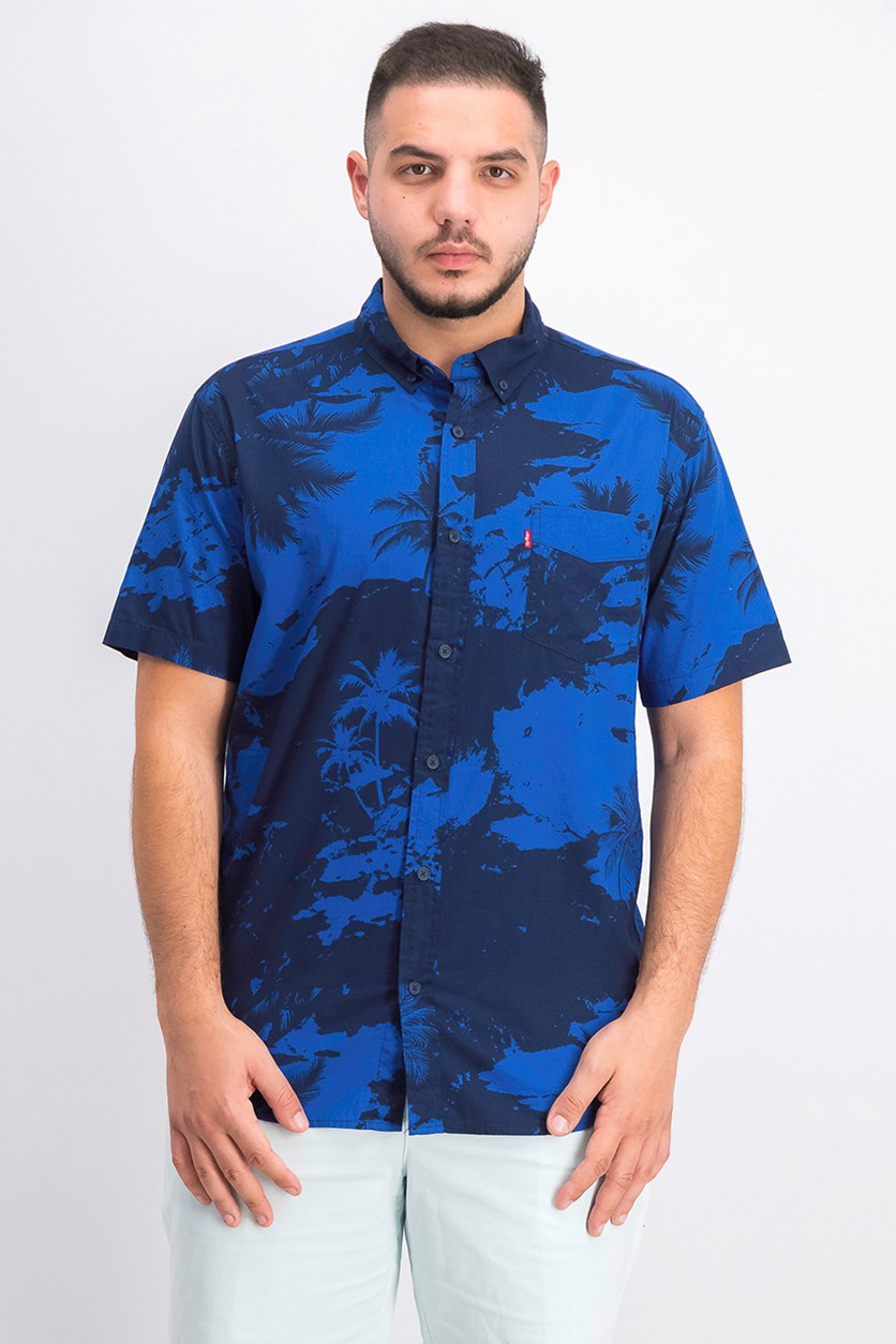 Men's Mozell Palm-Print Poplin Shirt, Navy Combo
