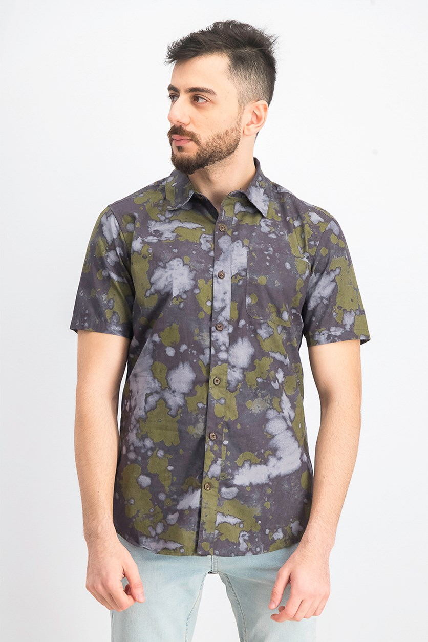 Men's Bleach Daze Printed Shirt, Green/Black Combo