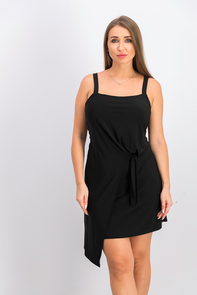 Women's Petite Asymmetrical Wrap Dress, Black