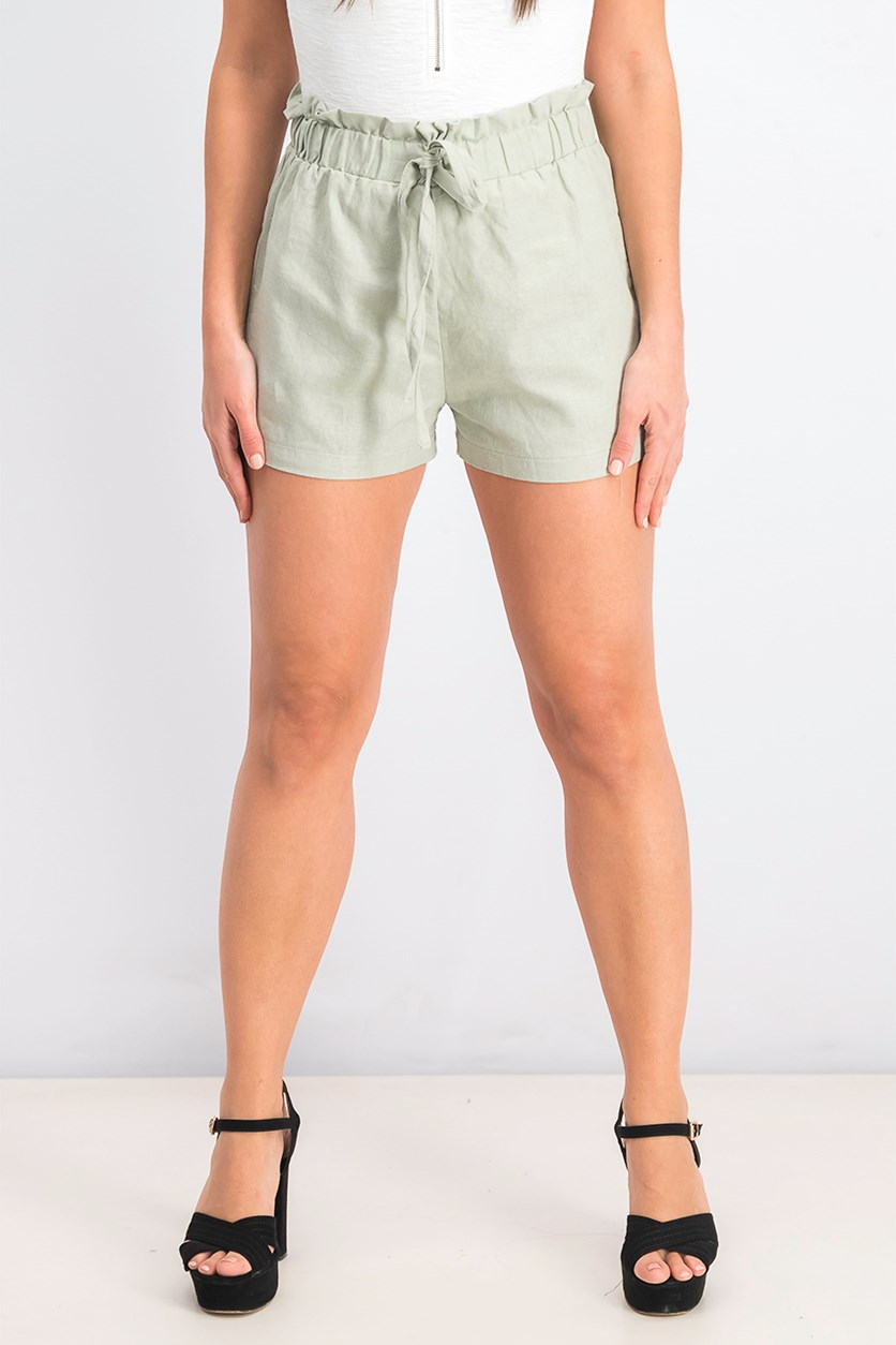 Juniors' High-Rise Linen-Blend Shorts, Seafoam
