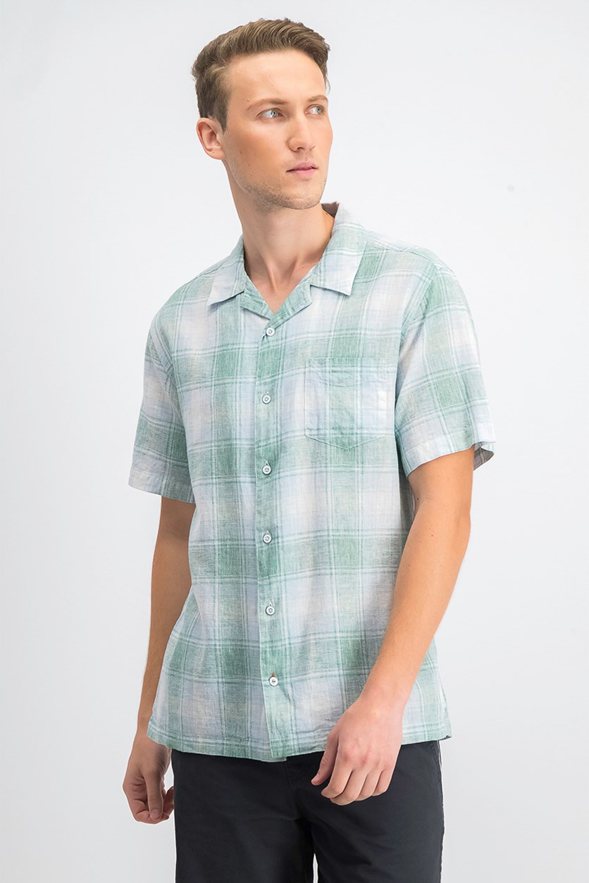 Men's Plaid Camp Shirt, Spruce Green