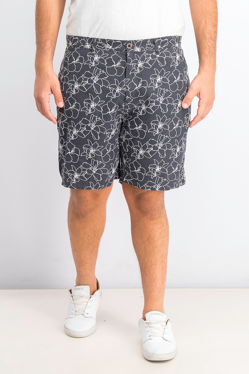 Men's Printed Shorts, Navy/White