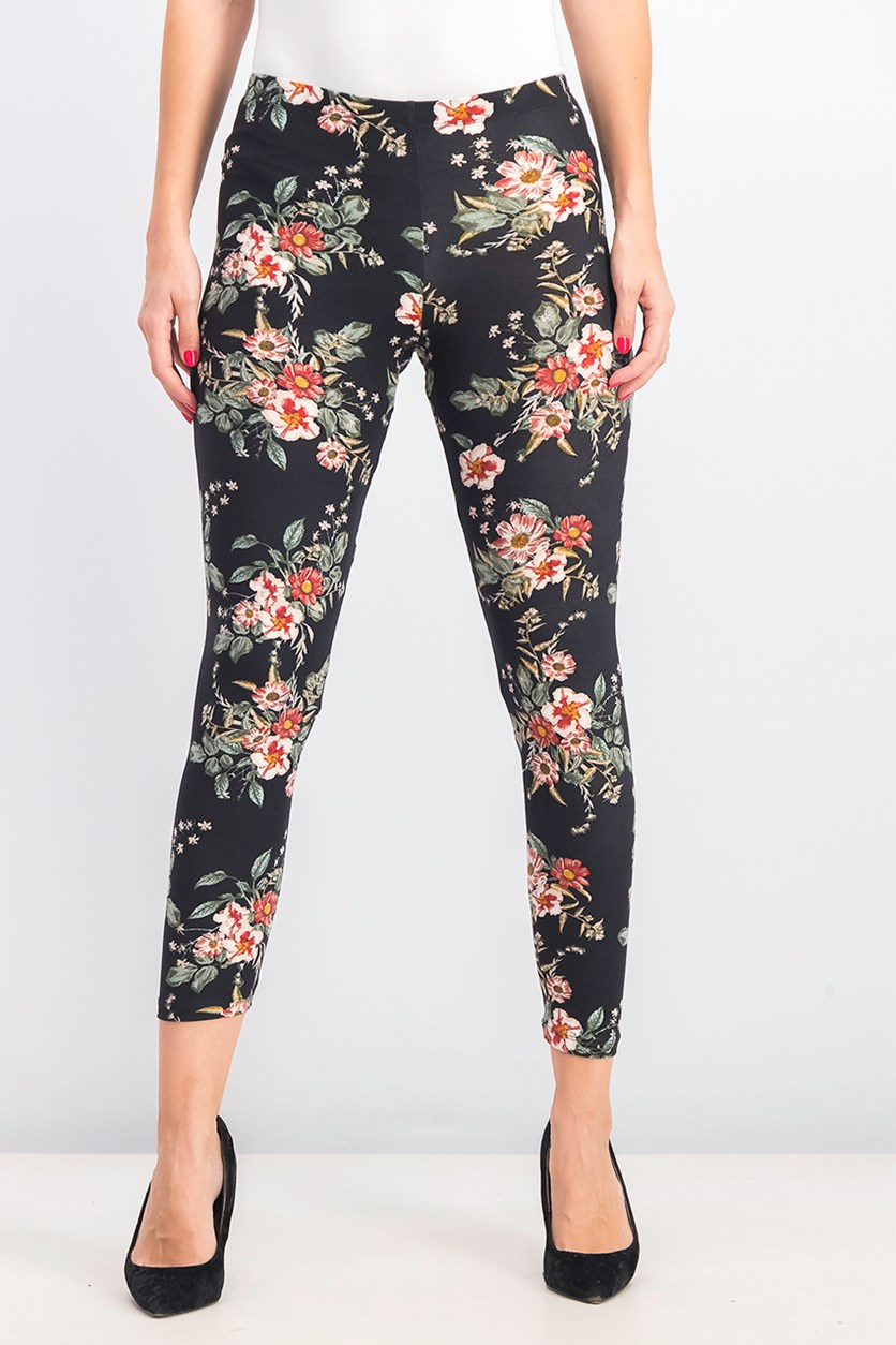 Juniors' Floral-Printed Brushed Jersey Leggings, Black/Pink