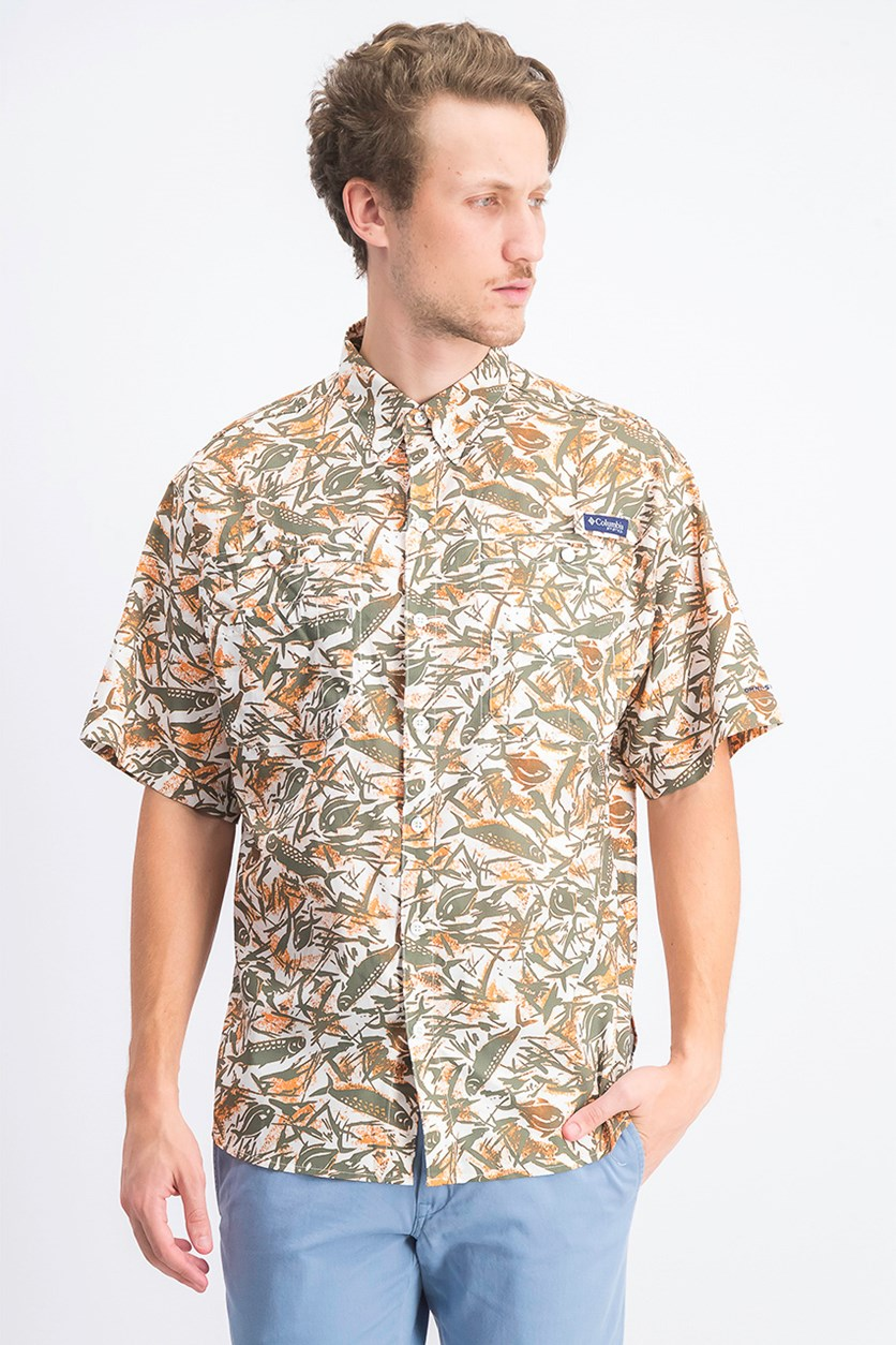 Men's Short Sleeve Shirt, Olive/Orange/White