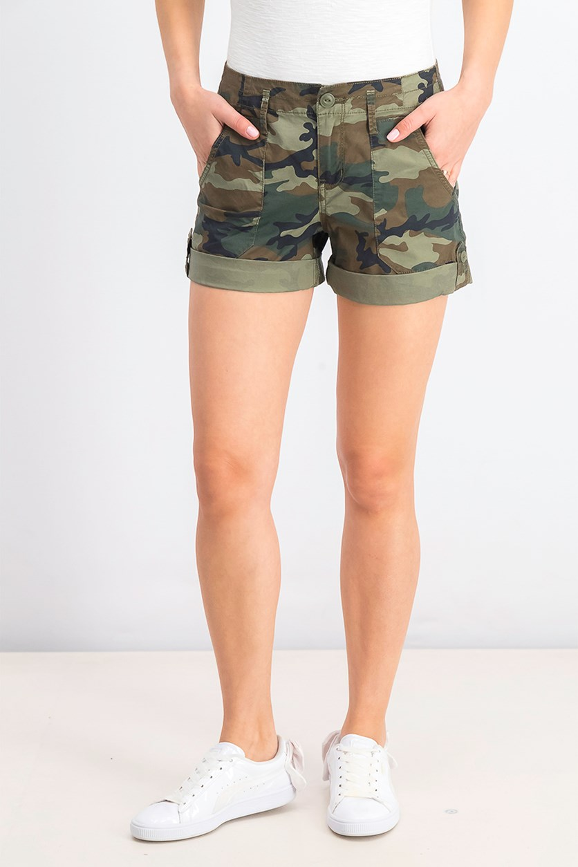 Women's Camouflage Patch Pocket Shorts, Green