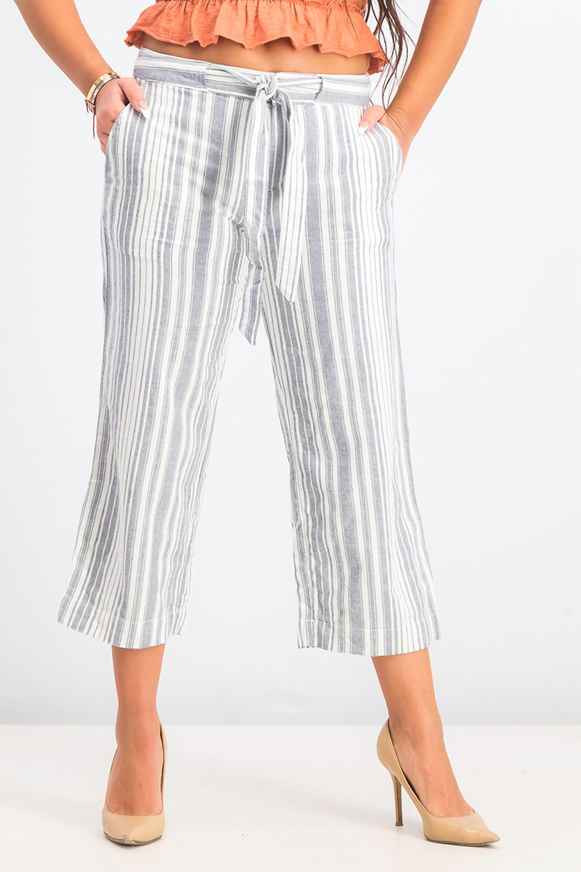Women's  Sasha Striped Cropped Pants, Navy/White