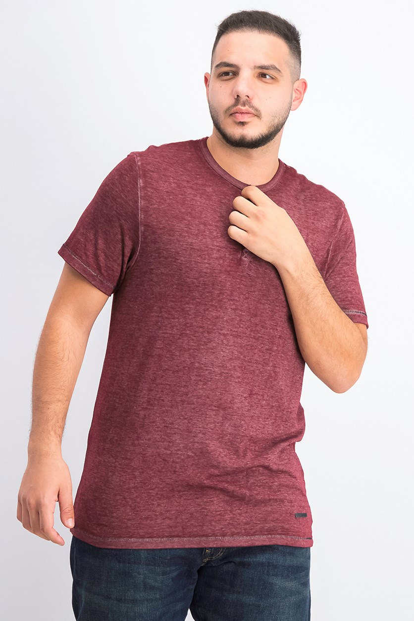 Men's Kasum Vintage-Inspired Henley, Cranberry