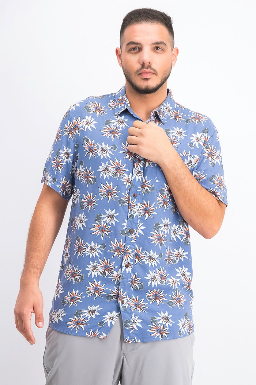 Men's Fluid Geometric Short Sleeve Shirt, Blue