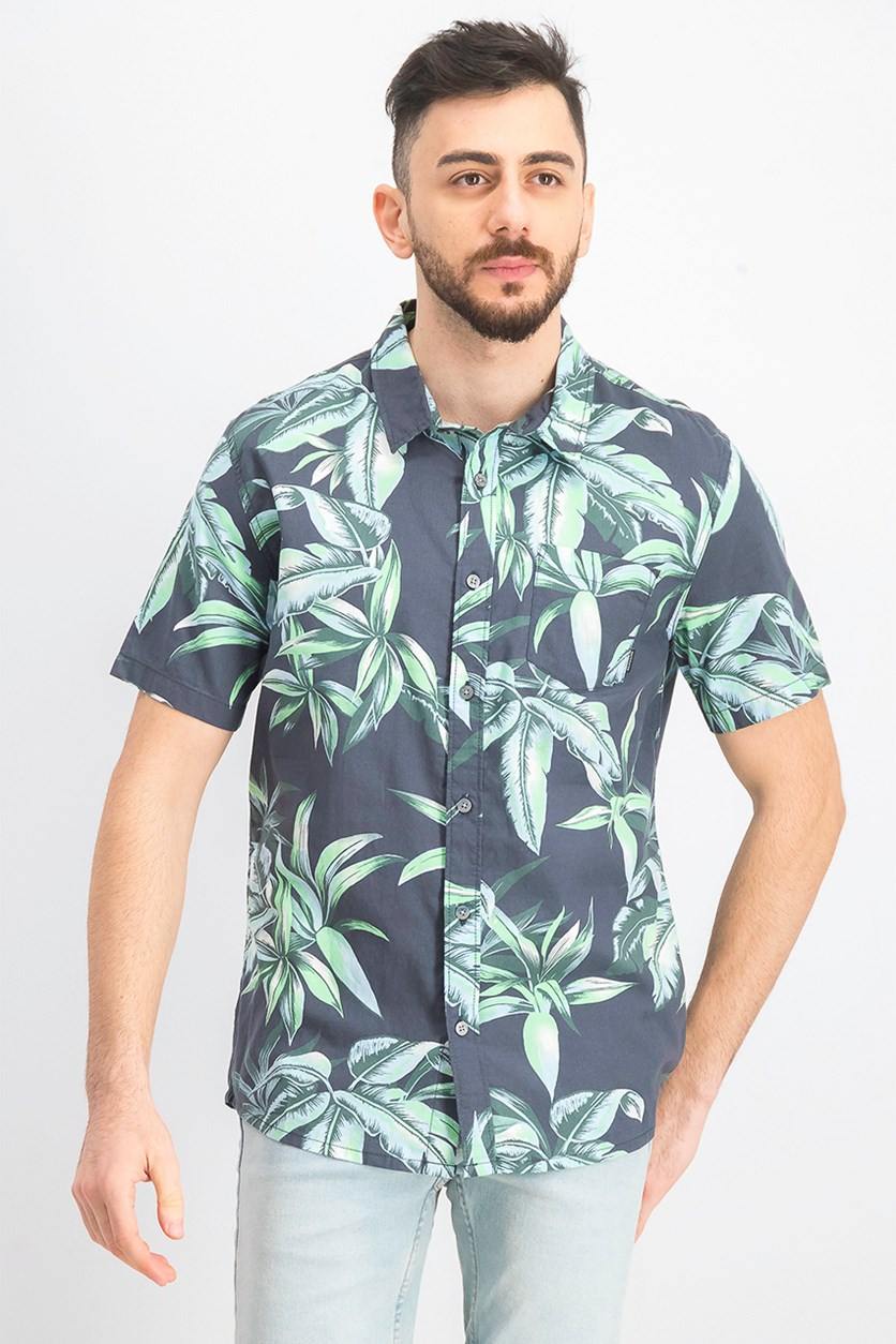 Mens Deep Bay Floral Regular Fit Button-Down Shirt, Green Combo