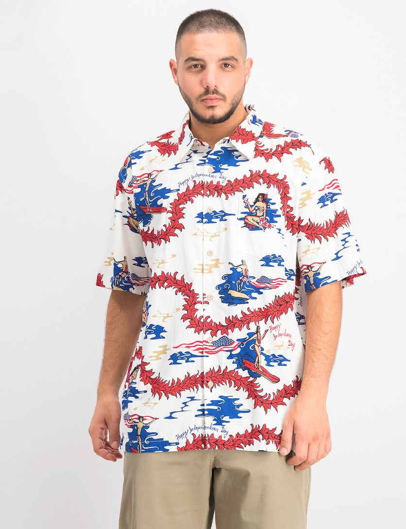 Men's Happy Independence Day Shirt, White Combo