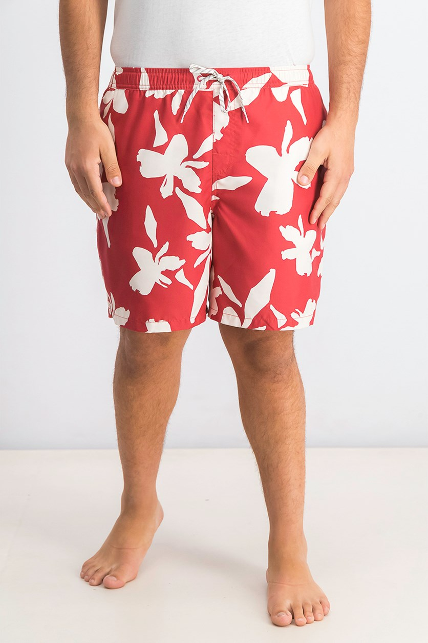 Mens No Vacancy Volley 18 Floral Active Swim Trunks, Red