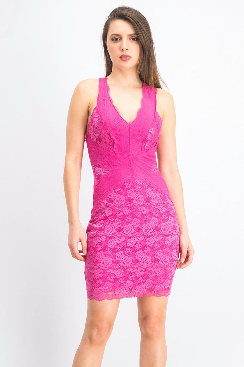 Women's Lisette Lace Dress, Berry Fuchsia