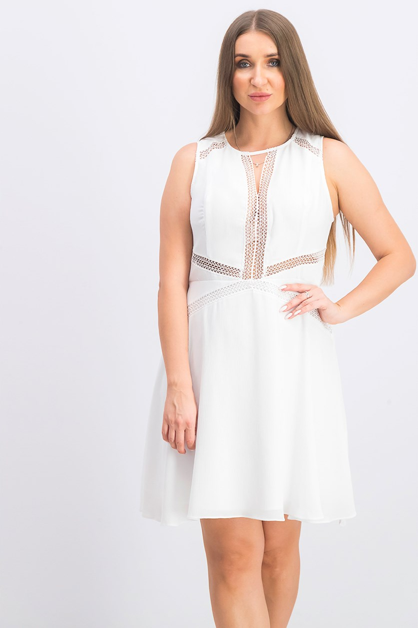 Women's Crochet-Trim Fit & Flare Dress, Pure White