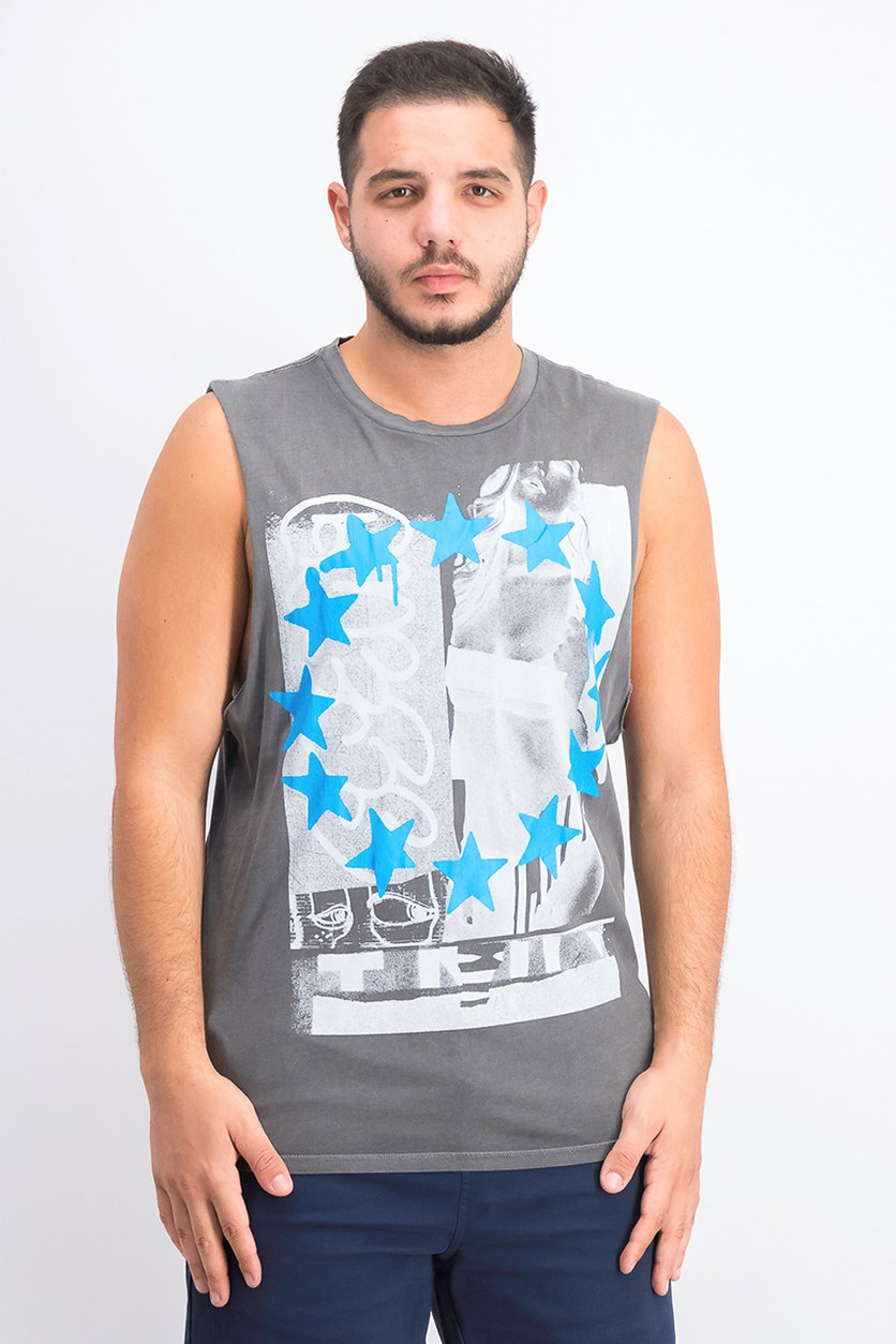 Men's Graffiti Girl Tank, Gray