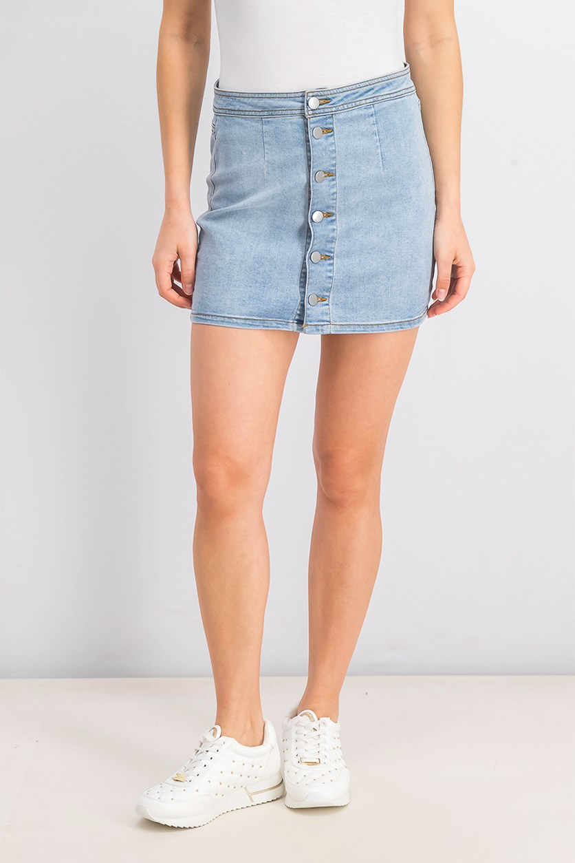 Button-down Denim Mini Skirt, Light Wash