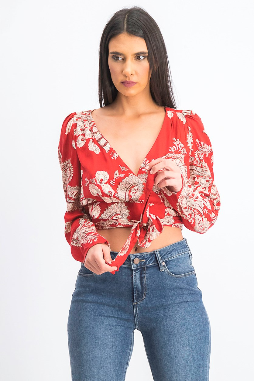 Women's Cropped Wrap Top, Red Combo
