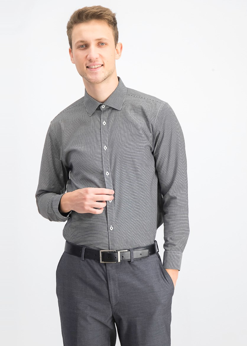 Men's Ultimate Slim-Fit Non-Iron Performance Stretch Dress Shirt, Black