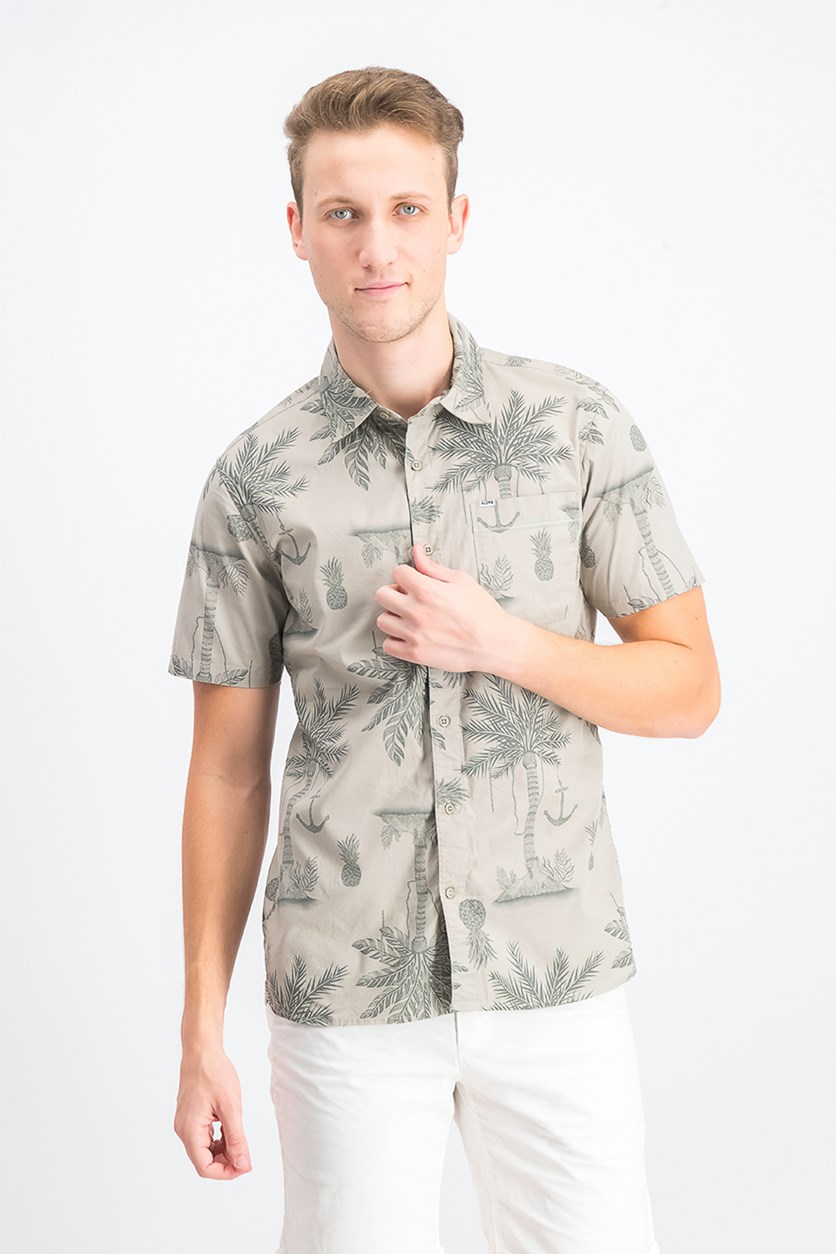 Men's Palm Tree Graphic Shirt, Olive
