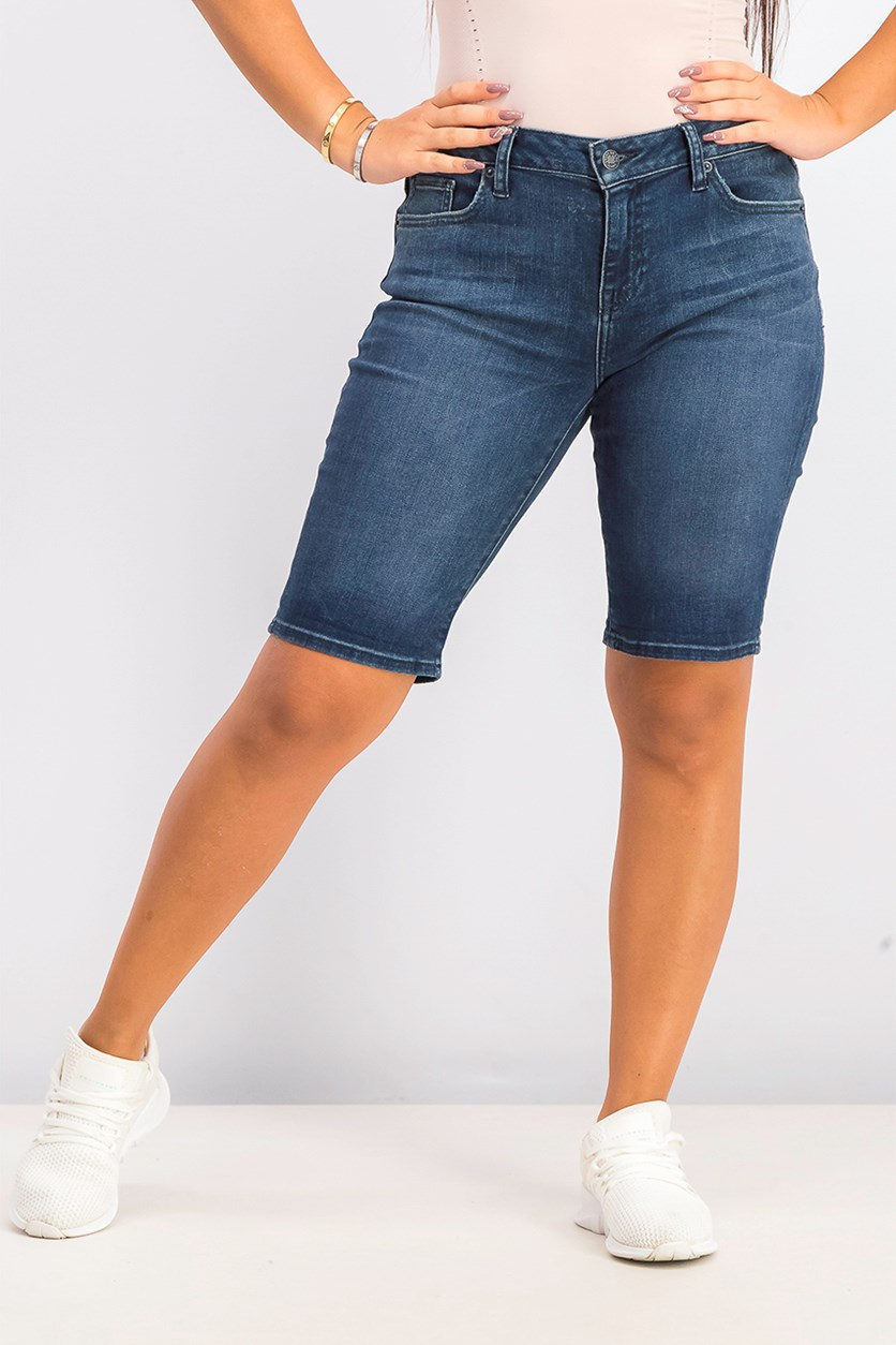 Women's Denim Bermuda Shorts, Navy Wash