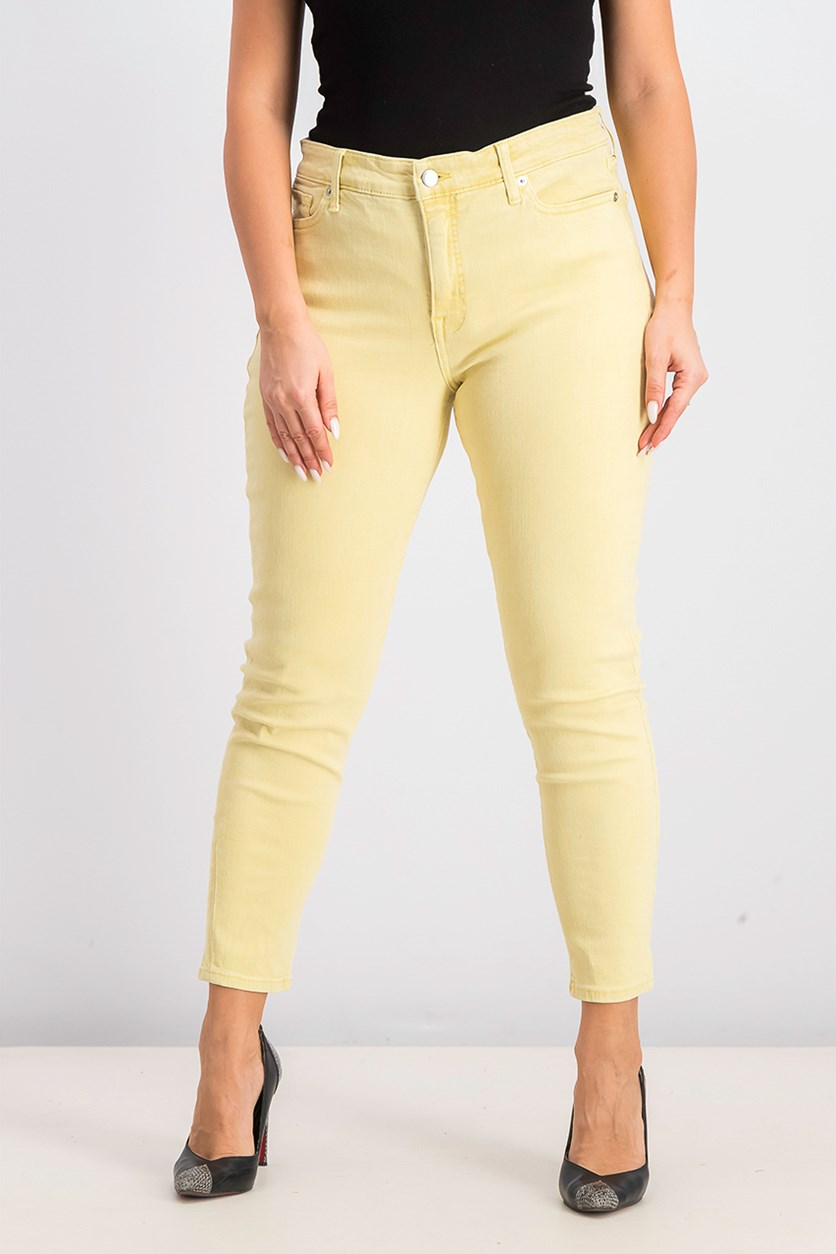Mid-Rise Skinny Ankle Jeans, Yellow