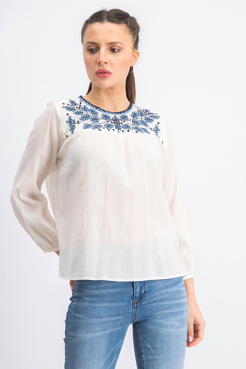 Women's Embroidered Peasant Blouse, Off White