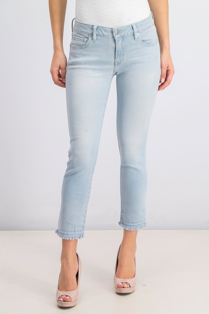 Women's Lolita Frayed Cropped Jeans, Wash Blue
