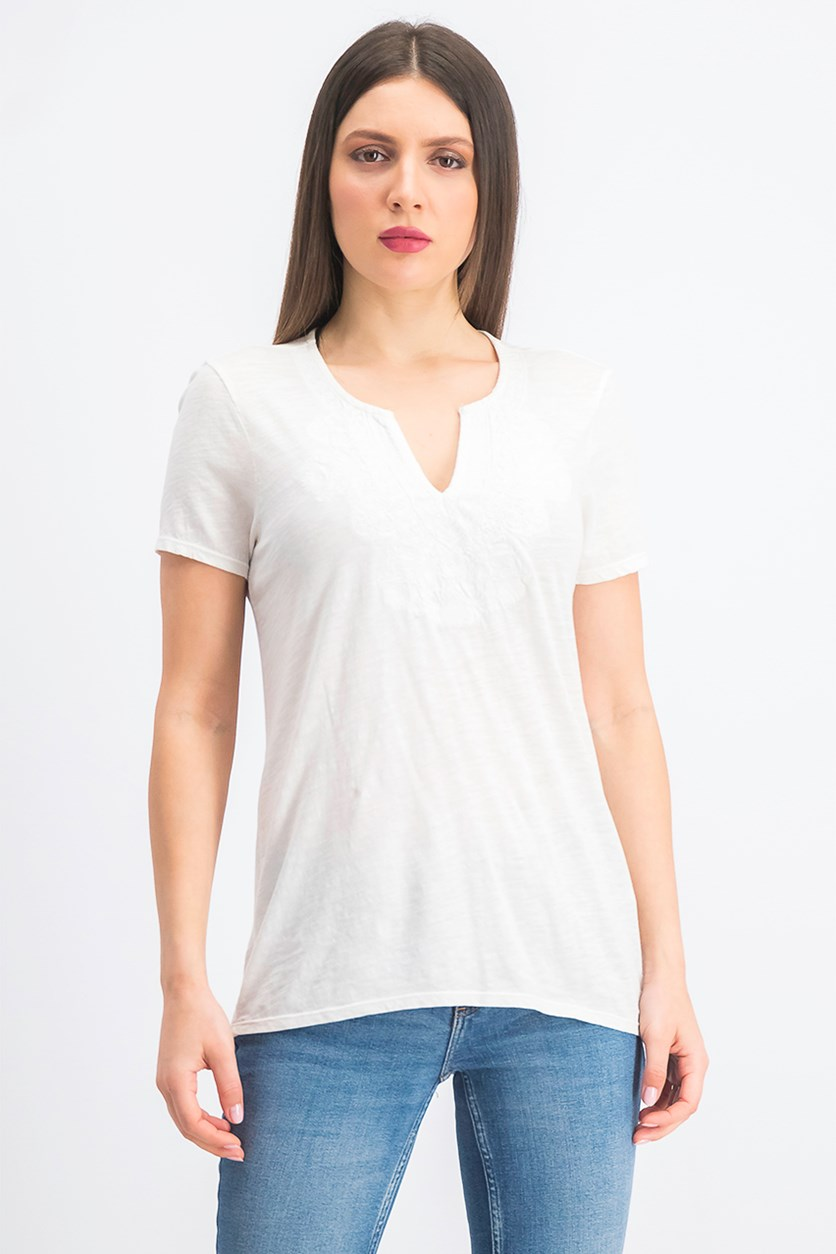 Women's Cotton Embroidered V-Neck Short Sleeve Tee, Ivory