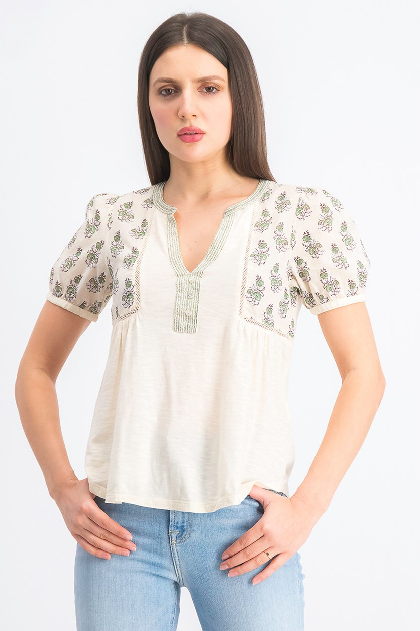 Women's  Printed Top, Cream