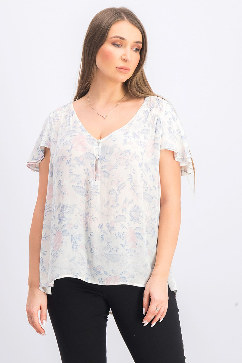 Printed Short Sleeve Top, Off White
