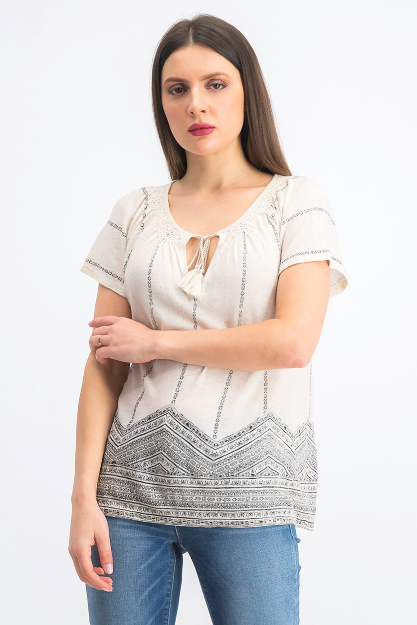 Women's Geo Print Smocked Top, Ivory