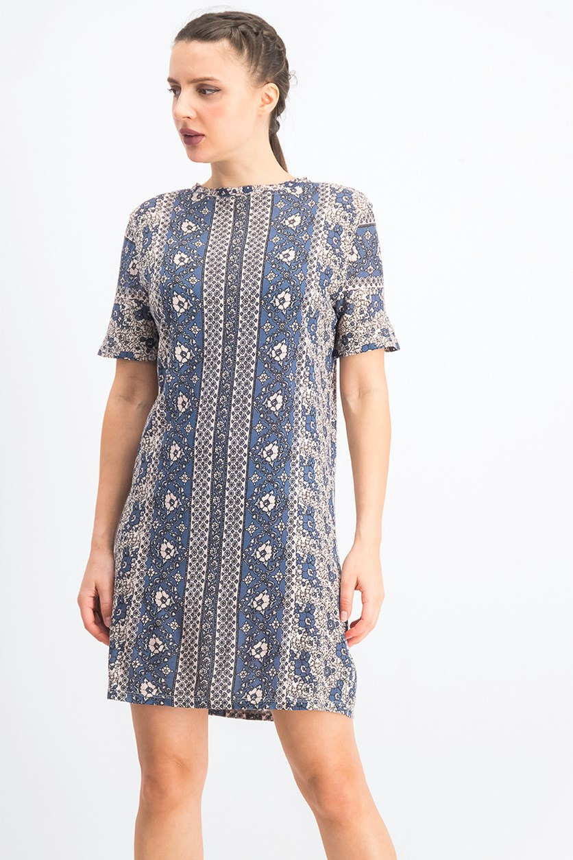 Womens Floral Pullover T-Shirt Dress, Navy Combo