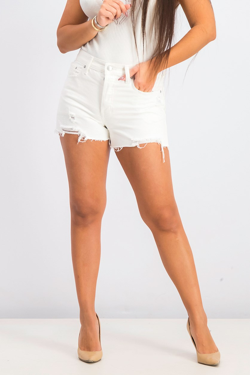 Women's Distressed Hem Shorts, White