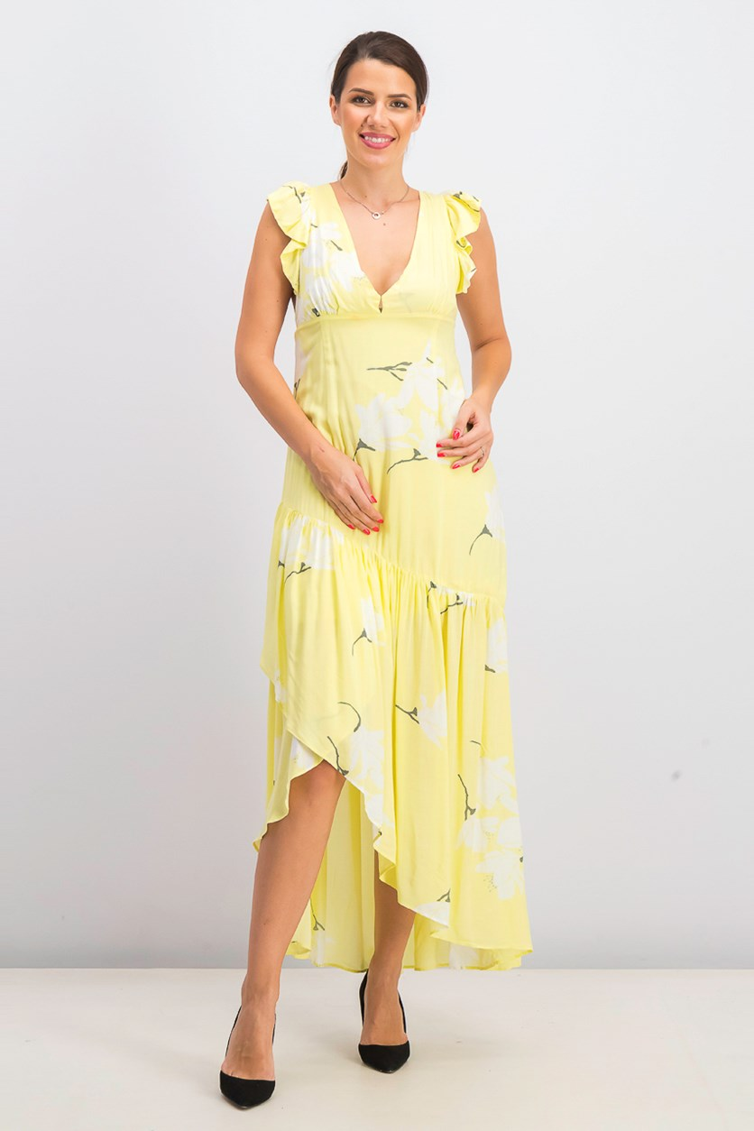 Women's Shes a Waterfall Printed Hi-Low Maxi Dress, Lemon Ice