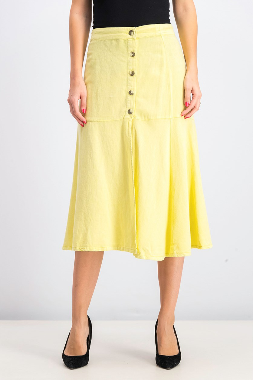 Women's Poppy Flounce Midi Skirt, Citron