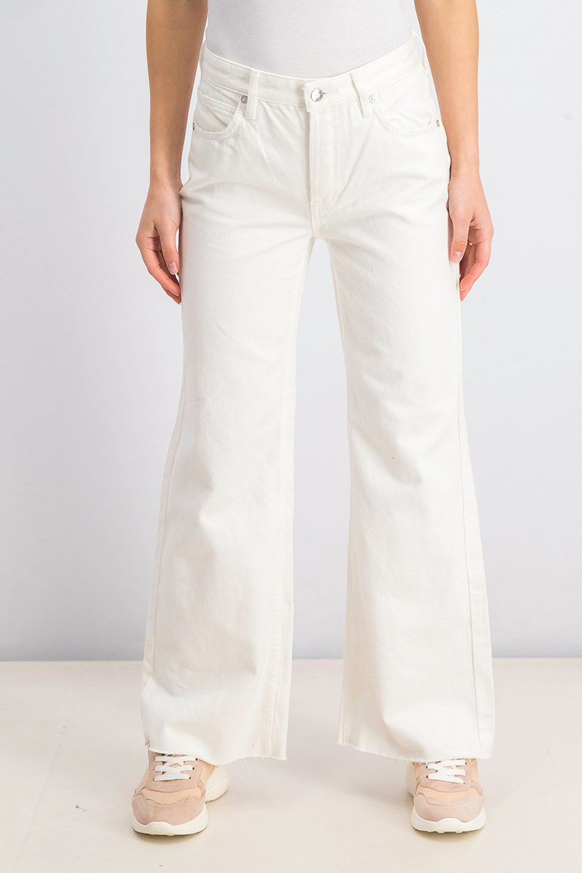 Womens  High Waist Flare Jeans, Off White