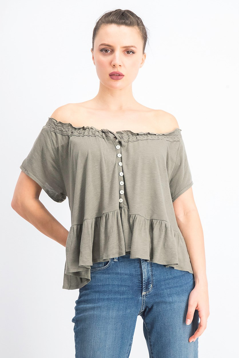 Women's Charlie Ruffled Relaxed T-Shirt, Army Sage