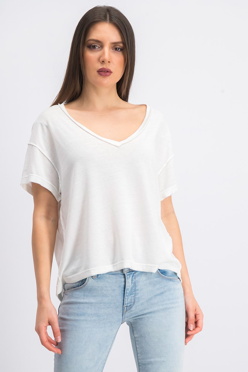 Women's All Mine Back-Cutout Tee, Ivory