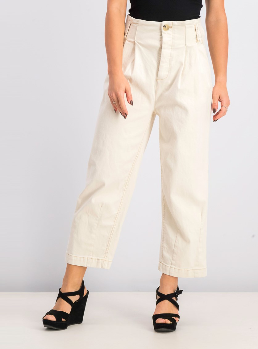 Women's Pleated Carrot Pants, Ivory