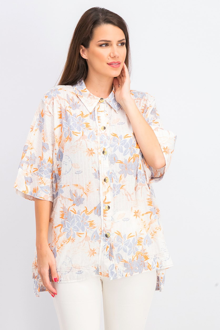 Women's Love Letters Button Front Shirt, Ivory Combo