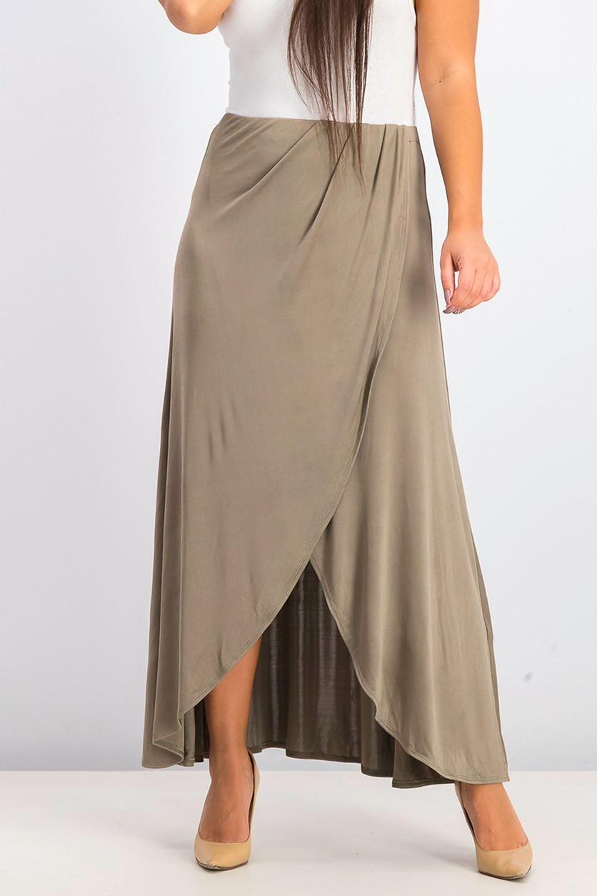 Women's  Smoke & Mirrors Faux Wrap Skirt, Olive