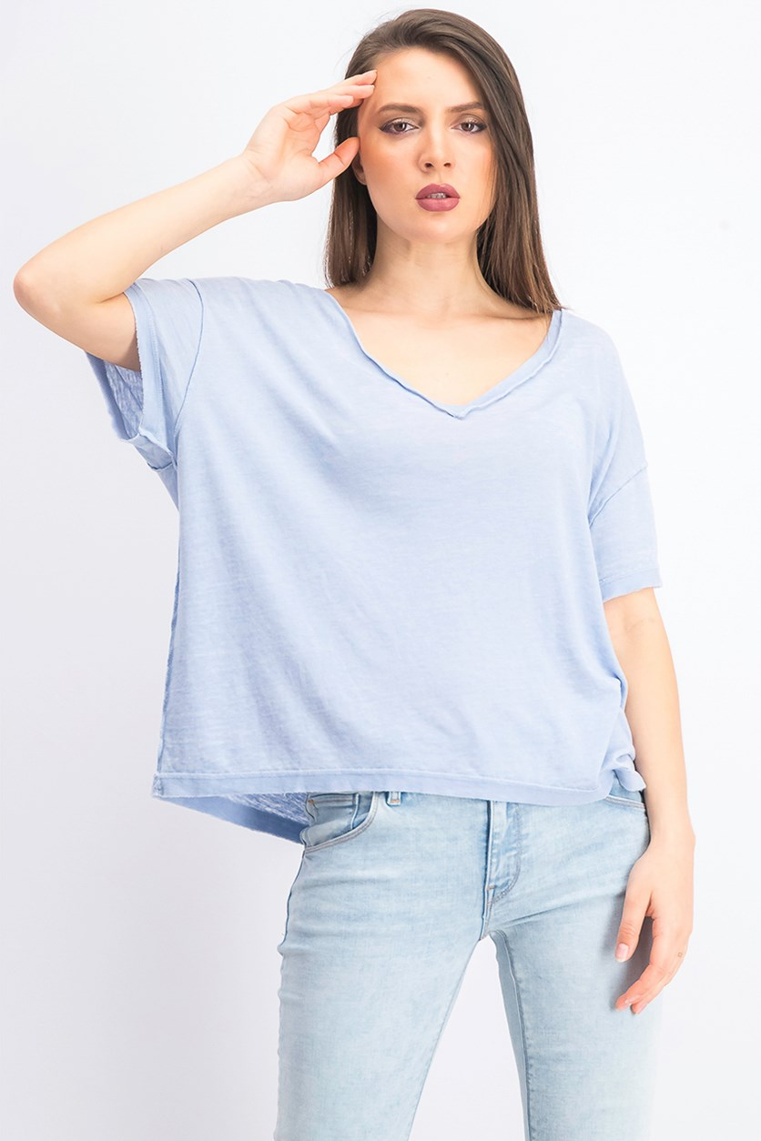 Women's Washed V-Neck T-Shirt, Dreamy Cloud