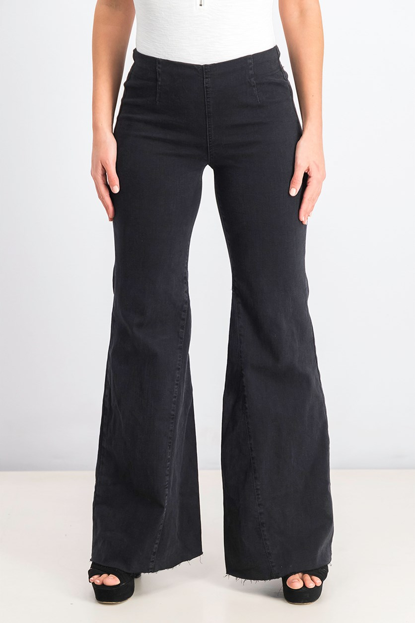 Women's Denim Released Hem Bell Bottom Jeans, Worn Black