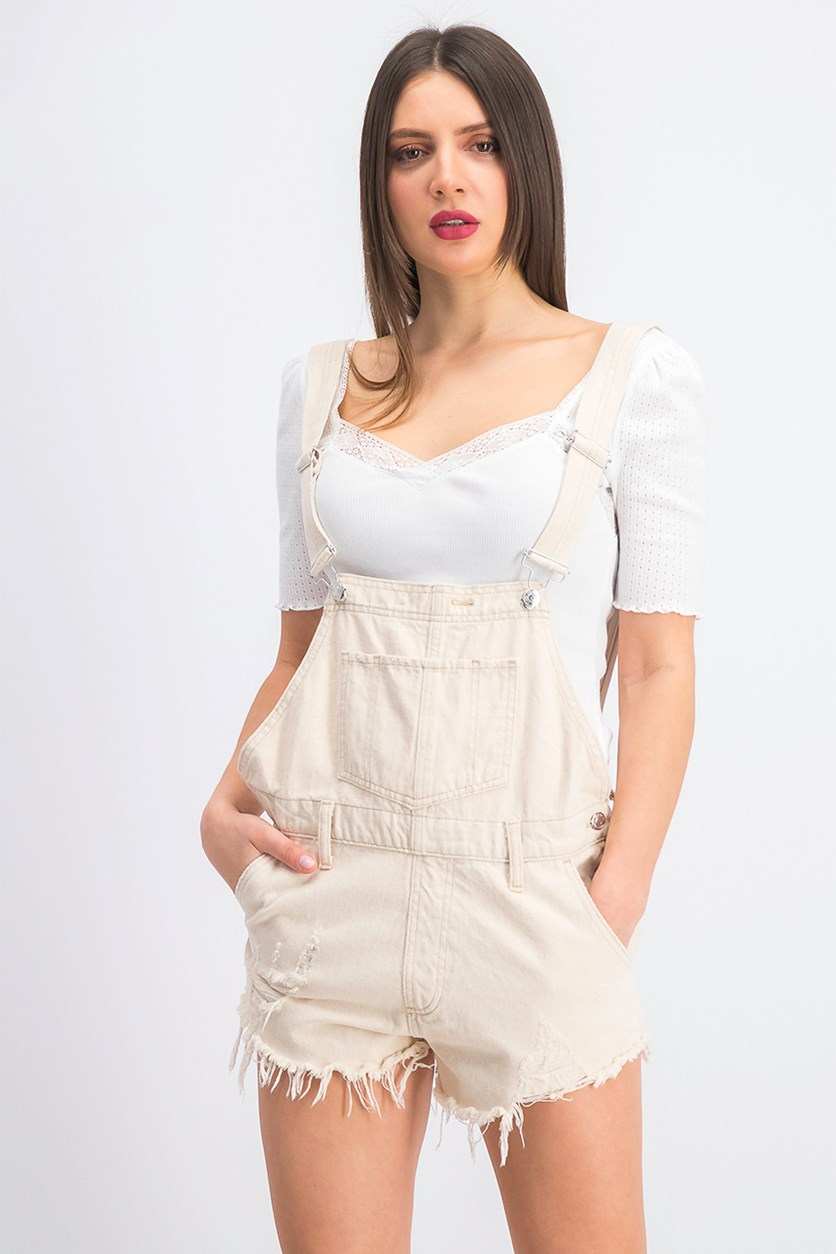 Women's June Denim Shortall, Light Tan