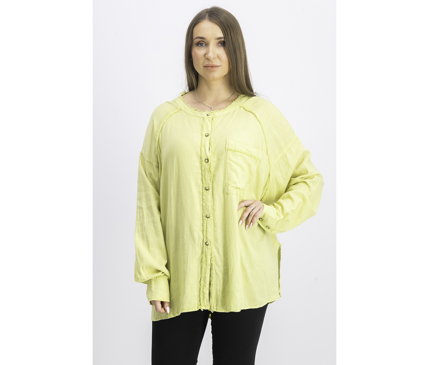 Women's 3/4 Sleeve Collared Button Up Top, New Pear