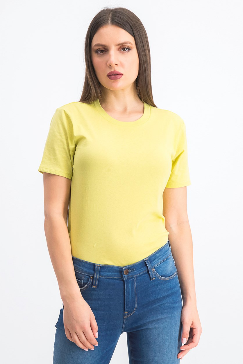 Women's Short Sleeve Crewneck Bodysuit, Yellow/Green