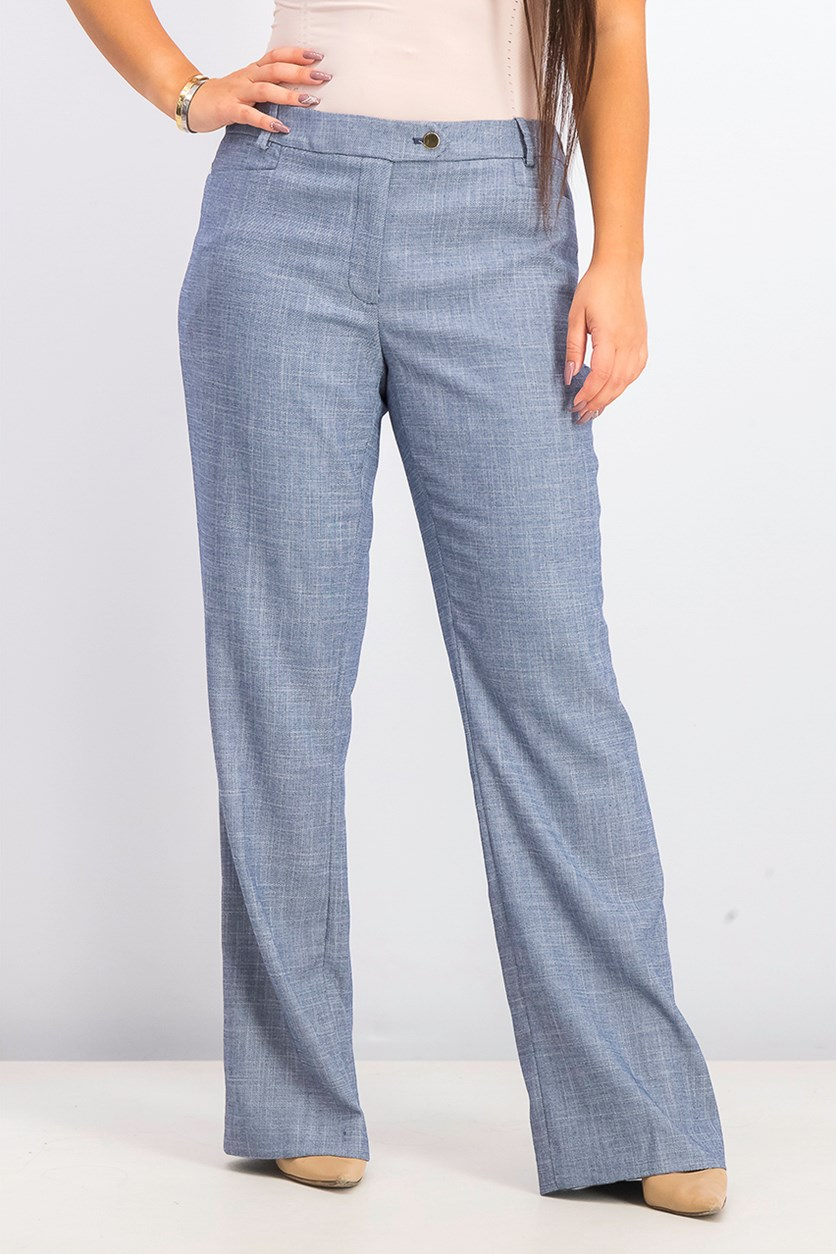 Women's Mid-Rise Straight-Leg Pants, Navy Combo
