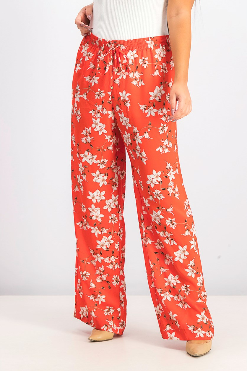 Women's Pull On Floral Pants, Red Combo